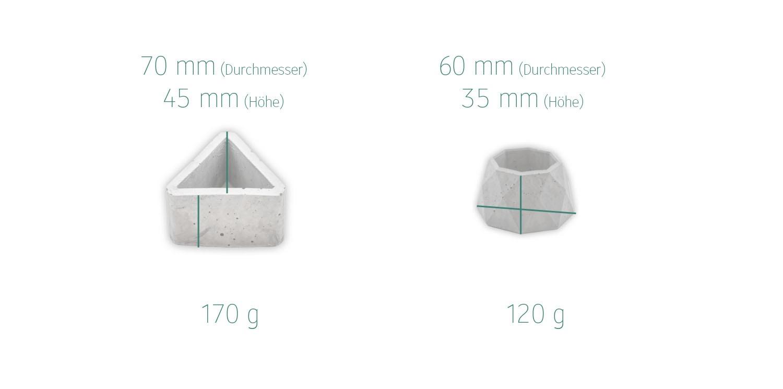 Maße Beton Pflanz-Pots